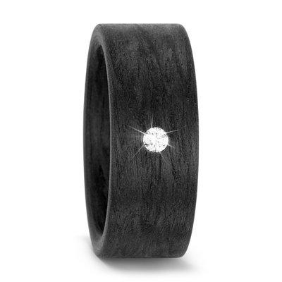 Trouwring Damesring Carbon 6 mm. breed en 2 x 0,05 ct diamant schuin gezet - 19 mm. in midden gemeten