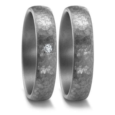 Trouwringen in donkergrijs Tantalium met diamant(en) per paar