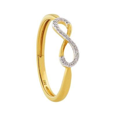 Damesring solitair in 14 karaat geelgoud en witgoud met diamanten