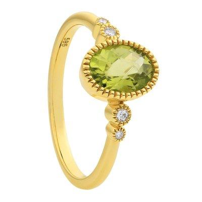 Damesring solitair in 14 karaat geelgoud met diamanten en peridot edelsteen