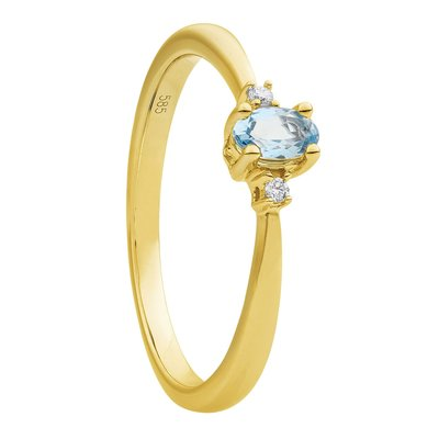 Damesring solitair in 14 karaat geelgoud met diamanten en topaas