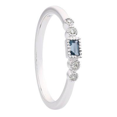 Damesring solitair in 14 karaat witgoud met diamanten en blauwe topaas
