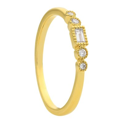 Damesring solitair in 14 karaat geelgoud met diamanten