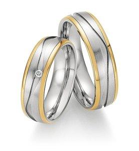 Trouwringen in edelstaal en geelgoud met diamant(en) per paar vanaf
