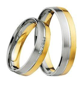 Mooye trouwringen 8 karaat 333 geel met wit per paar