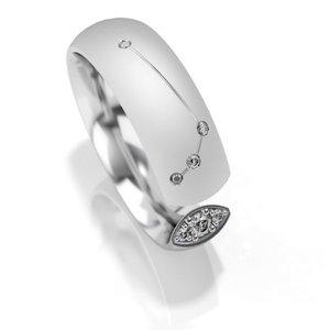 Trouwringen sterrenbeeld Ram in zilver met diamant(en) per stuk