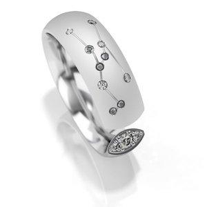 Trouwringen sterrenbeeld Stier in zilver met diamant(en) per stuk