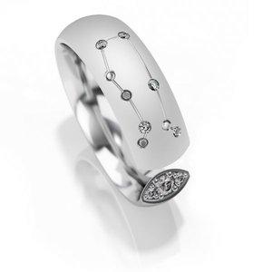 Trouwringen sterrenbeeld Tweelingen in zilver met diamant(en) per stuk