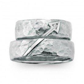 Trouwring in 925 zilver met diamant(en)